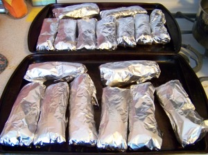 I bake all the burritos right away.