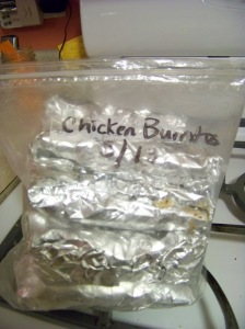 I put about 12 in a gallon size freezer bag, mark it with the type of burrito, and the date prepared.