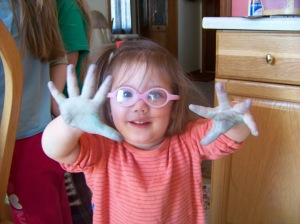Look at my hands!  And this is after we washed them!