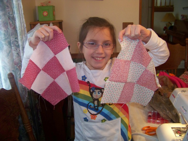 Two of Kaylin's finished quilt blocks