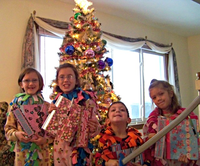 The 4 oldest with their journals they got for Christmas