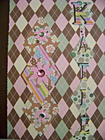 Front cover--I cut out diamonds as the paper has diamonds on it.