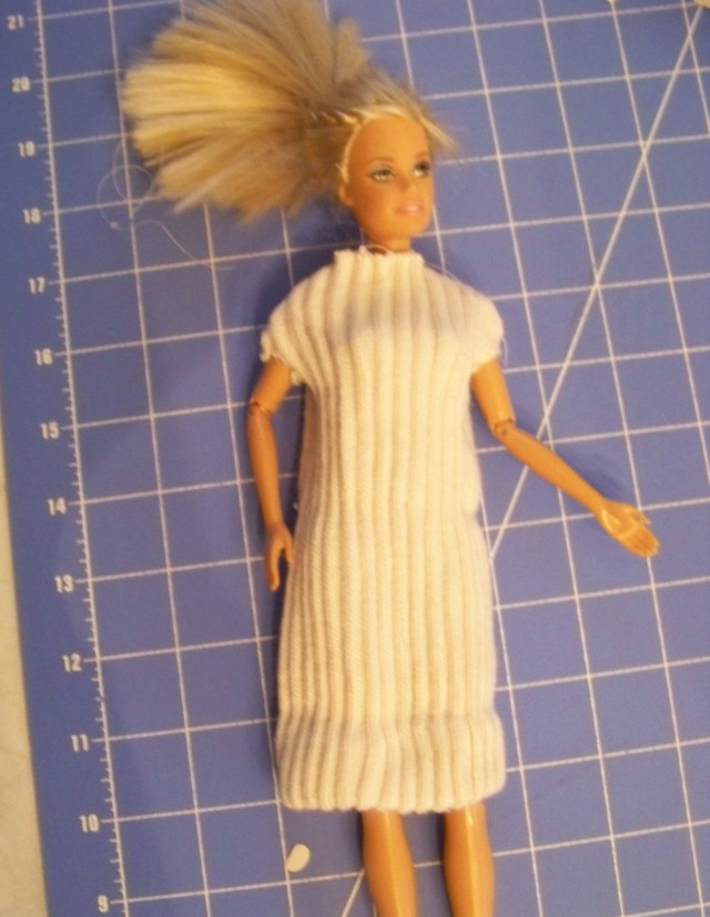 Barbie doll using the top of one of my husband's white sport socks.