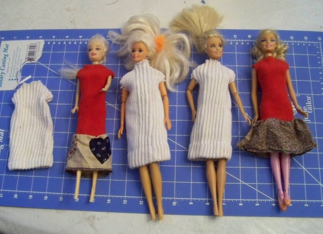 All the dresses that we made before they were decorated.