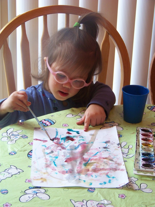 Kiley watercoloring this week. It kept her occupied for a long time!