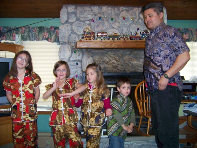 Clothes from Indonesia given to us by their uncle who went there on one of his vacations.