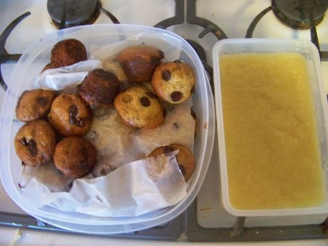 Applesauce and muffins removed from the freezer to complete the meal.