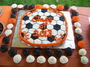 The cupcake cake my sister made for my nephew's graduation.