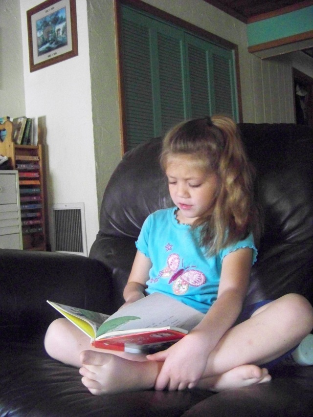 Kristi reading to herself--I have another reader!