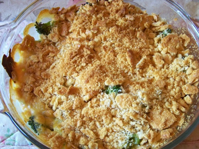 Broccoli casserole after it is baked.