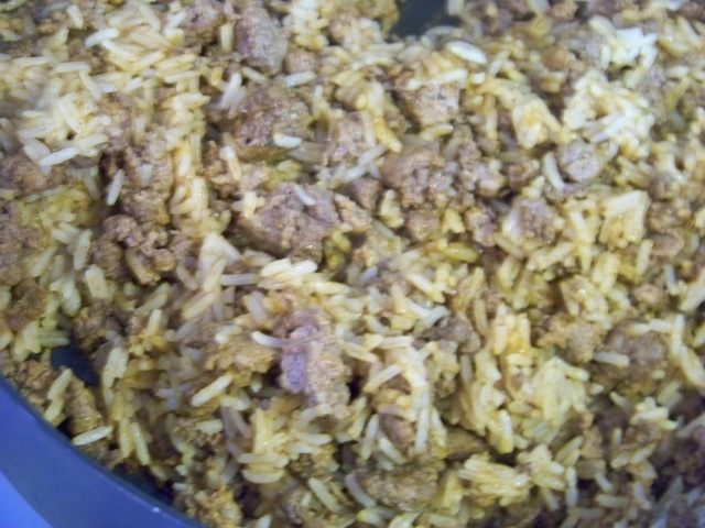 Meat and rice mixture