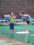 Kristi and Kiley playing during Joshua's swim time