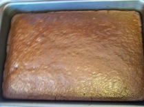 Cake out of the oven.