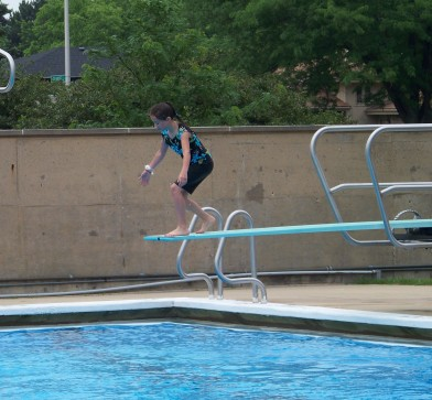 Kaylin going off one of the diving boards.